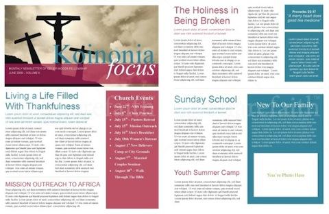 free church bulletin templates word